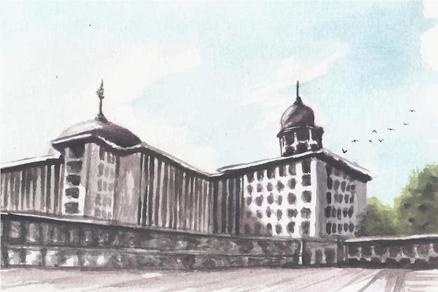水彩モスク風景手描き絵画。 istqlalジャカルタ、インドネシアのモスク