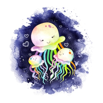 Акварель мать и детеныш медузы