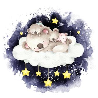 雲の上で眠っている水彩画の母と赤ちゃんコアラ