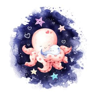 Акварель мать и детеныш осьминога