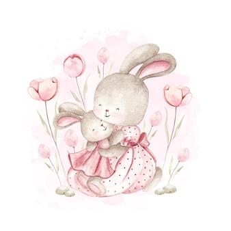 수채화 엄마와 아기 토끼