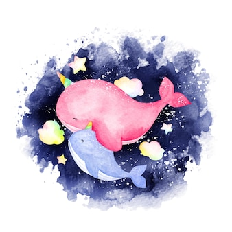 Watercolor mother and baby narwhale