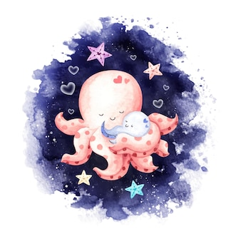 Watercolor mother and baby octopus