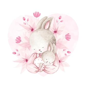 Watercolor mother and baby rabbit