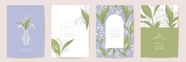 Набор карт акварель день матери. приветствие мамы минимальный дизайн открытки. шаблон цветы белые лилии вектор. весенний цветочный букет типографии. современная брошюра женщина