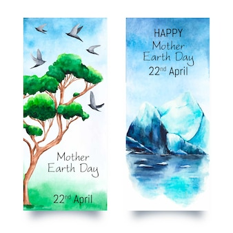 Watercolor mother earth day banner collection