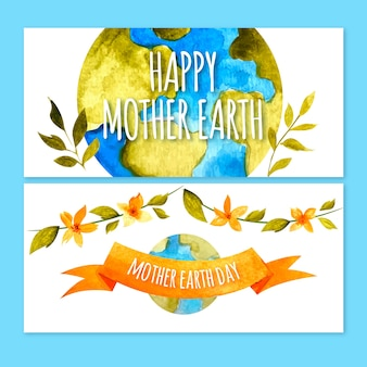 Watercolor mother earth day banner concept
