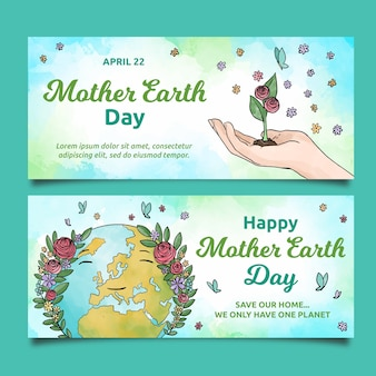Watercolor mother earth day banner set