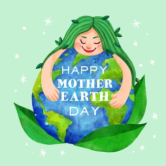 Watercolor mother earth day concept