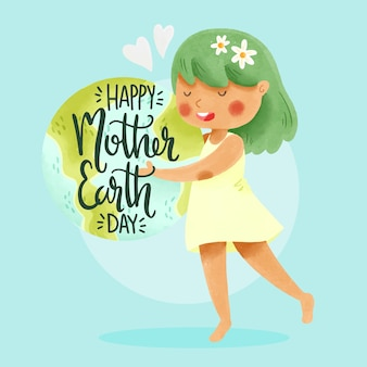 Watercolor mother earth day design