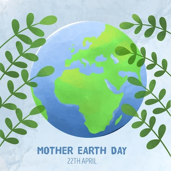 Watercolor mother earth day illustration