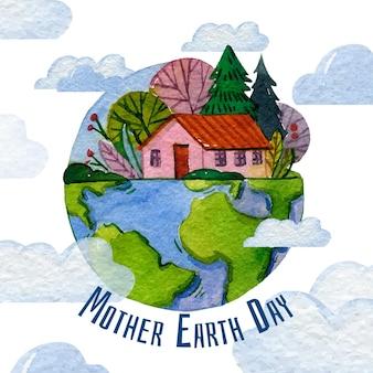 水彩母なる地球デーのイラスト