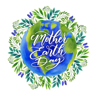 Watercolor mother earth day with leafage