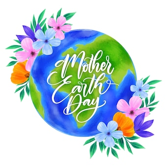 Watercolor mother earth day