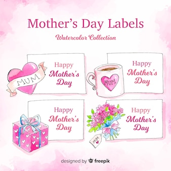 Watercolor mother's day badge collection
