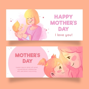 Watercolor mother's day banners