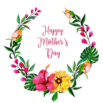 Watercolor mother's day floral frame background