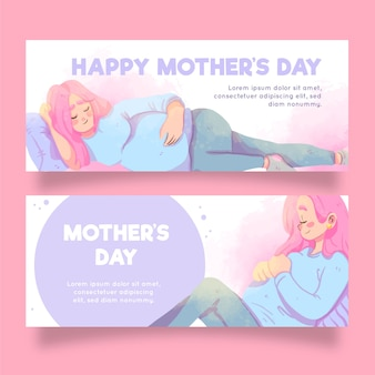 Watercolor mother's day horizontal banners