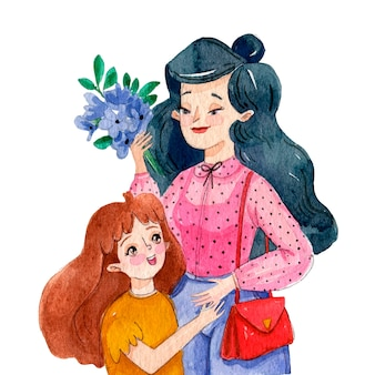 Watercolor mother's day illustration