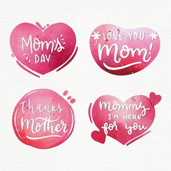 Watercolor mother's day label collection