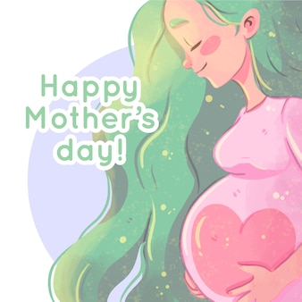 Watercolor mother's day with pregnant woman