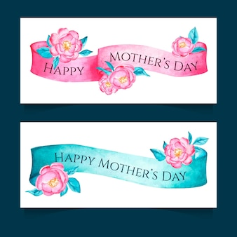 Watercolor mothers day banners template