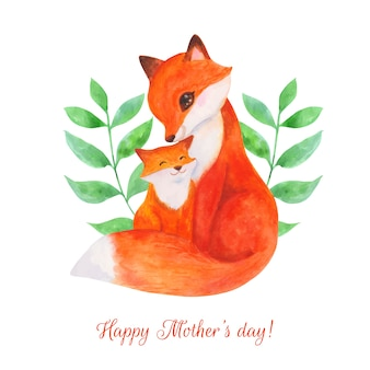 Watercolor mothers day concept