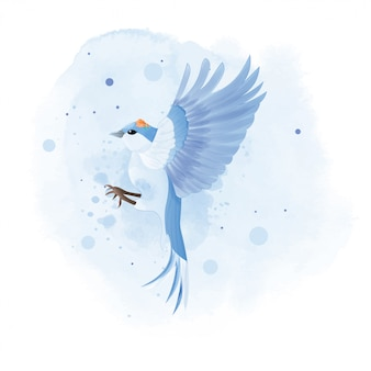 Watercolor of mountain bluebird with flower.