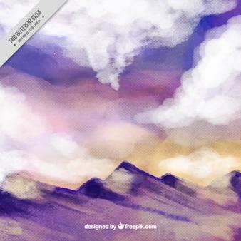 Watercolor Mountain Landscape Background