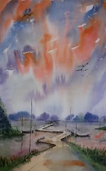 Watercolor mountain view river illustration landscape painting