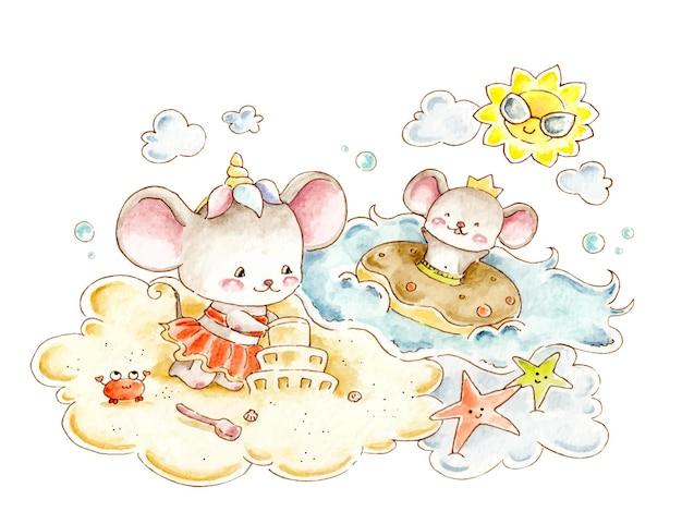 Акварельная мышь на пляже