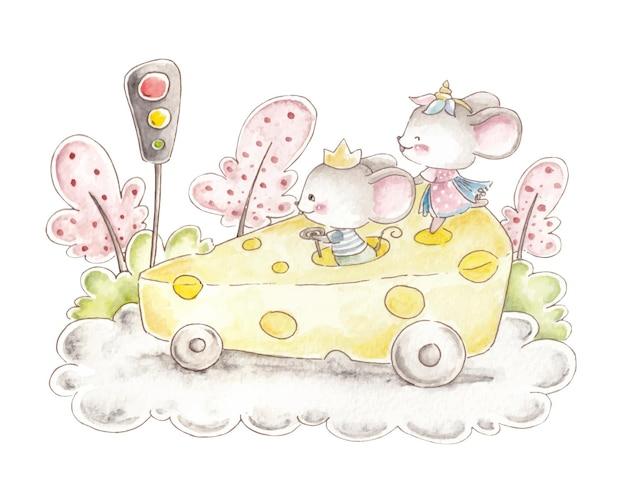 Акварельная мышь в машине с сыром