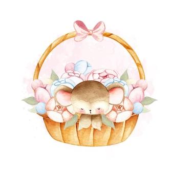 Акварельная мышь в цветочной корзине