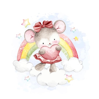 Watercolor mouse and rainbow