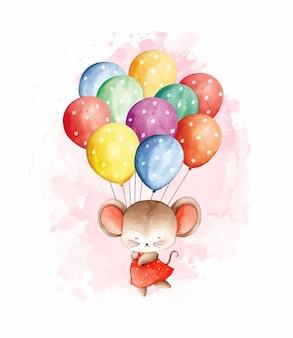 Акварельная мышь с воздушными шарами