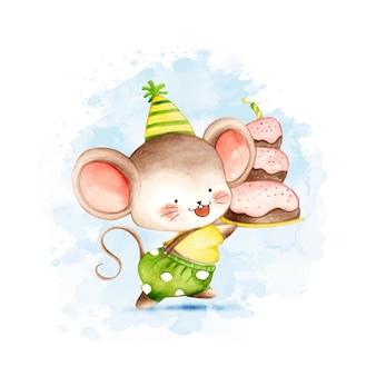 Акварельная мышь с тортом