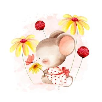 Акварельная мышь с цветком