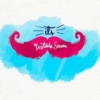 Watercolor movember mustache awareness background