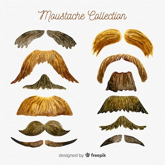Watercolor movember mustache collection