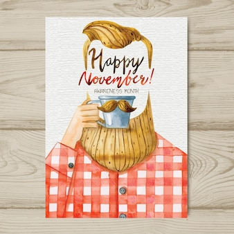 Watercolor movember mustache poster template with hipster drinking coffee