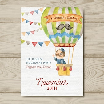 Watercolor movember mustache poster template with man in hot air balloon