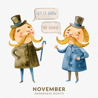 Watercolor movember no shave background with gentleman chatting