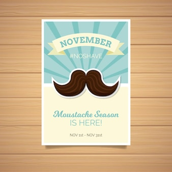 Watercolor movember poster template in flat design