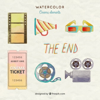 Watercolor movie element collection