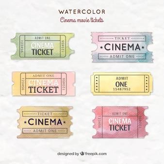 Watercolor movie ticket collection