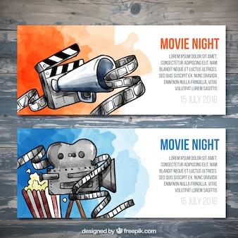 Watercolor movie tickets set