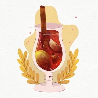 Illustrazione di vin brulé ad acquerello