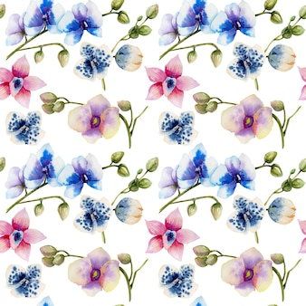 Watercolor multicolored orchids of different varieties seamless pattern