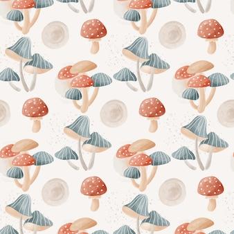 수채화 버섯 패턴 원단