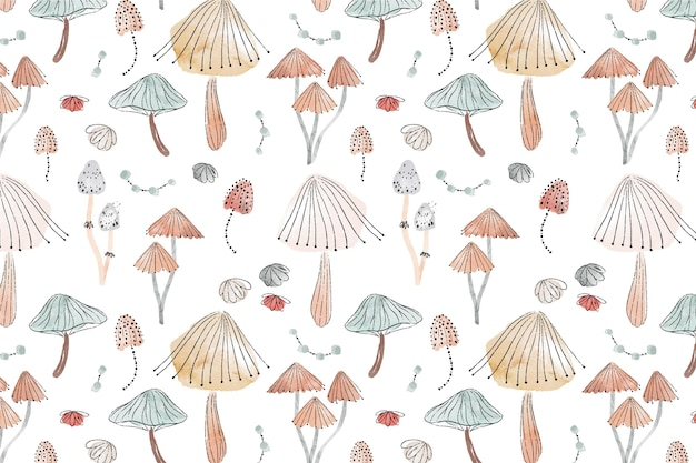 Watercolor mushroom pattern